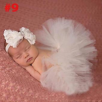 Tutu avec bandeau vintage pour l'accessoire de photographie nouveau-né