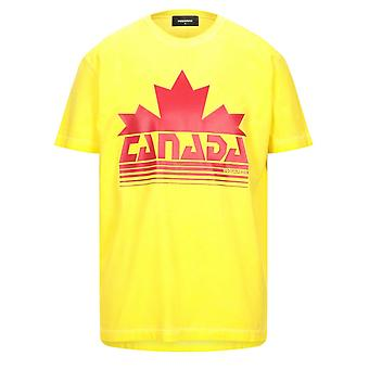 Dsquared2 Canada Maple Leaf Logo Cool Fit T-Shirt Amarela