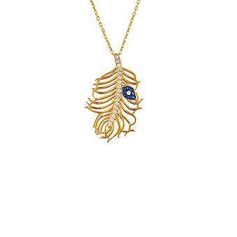 Blue Evil Eye Peacock Feather Animal CZ Gift Yellow Gold Chain Pendant Necklace