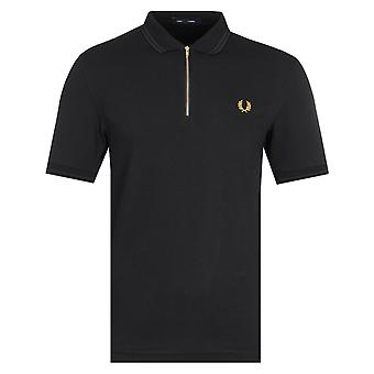 Fred Perry Zip Hals schwarz Polo Shirt