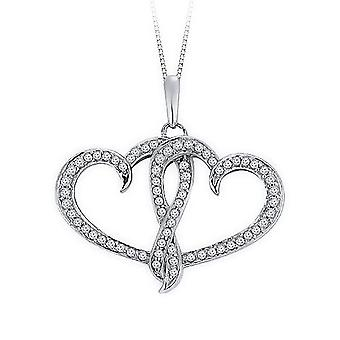 1.00 Carat Double Heart Diamond Pendant