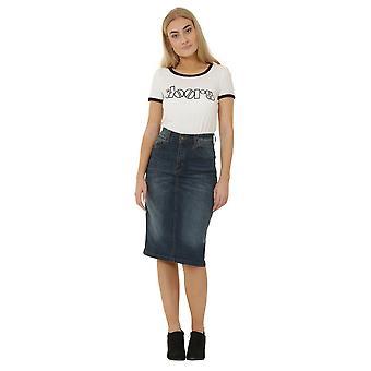 Denim midi skirt - vintage wash denim below the knee skirt with stretch