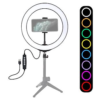 PULUZ 10,2 tum 26cm USB 10 Lägen 8 Färger RGBW Dimbar LED-ring Vlogging Fotografi Video Lights med Cold Shoe Tripod Ball Head & Telefon Clamp(Blac