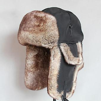 Winter Bomber Hat - Faux Fur Russian Ushanka Thick Warm Cap With Ear Flaps