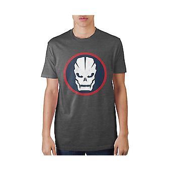 Call of duty circular skull charcoal soft hand graphic print t-shirt