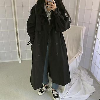 أنيقة المرأة خندق معطف، عارضة ملابس خارجية طويلة فضفاضة معطف مع حزام