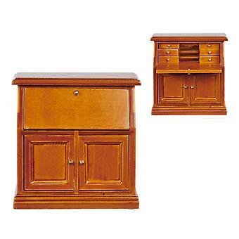 Dolls House Walnut Secretary Bureau Desk Miniature Study Office Furniture