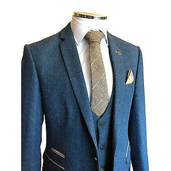 Férfi's Blue Tweed Slim Fit suit