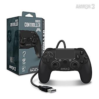 Wired Game Controller til PS4/ PC/ Mac (Sort) - Armor3