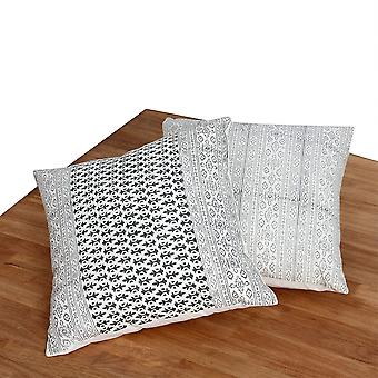18 X 18 Hand Block Printed Cotton Pillow With Kilim Pattern, Set Of 2, Black And White