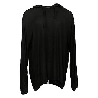 Laurie Felt Women's Hoodie Fuse Modal Ribbed Knit Ajustável Preto A374918