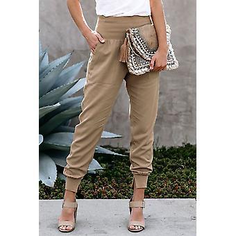 Fashion Khaki Pocketed Cotton Joggers