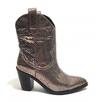 Women's Shoes Gold&gold Texan Ankle Boot Tc 70 In Faux Leather Print Reptile Pewter D20gg30