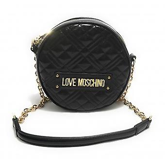 Женская сумка Любовь Moschino Круглый плечевой ремень в эко-коже Стеганый черный B21mo10