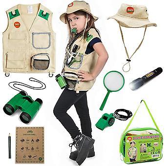 Born Toys Backyard Safari Vest and Costume with Explorer kit for Outdoor,Nature,Park Ranger