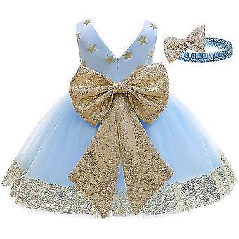 Baby Meisje Formele Doop Prinses Jurk A-licht Blauw