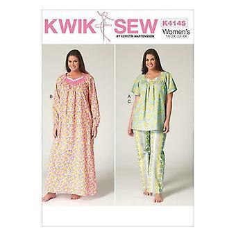 Kwik Sew Sewing Pattern 4145 Womens Diamond Neck Top Nightgown Pants Size 1X-4X Uncut