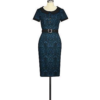 שיק כוכב בתוספת גודל כפתור רטרו שמלה כחולה / פרחונית