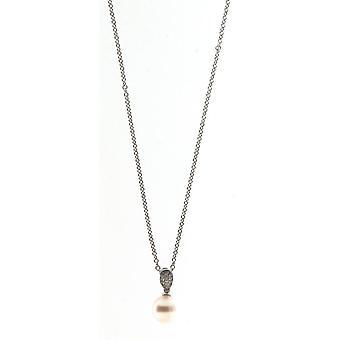 Collar de perlas Adriana colgante blanco de agua dulce y zirconia cúbica plata 50 cm S23-W