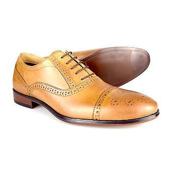 Byrokratiaa Hartwell miesten Tan nahka muodollinen pitsi-Up häät kengät