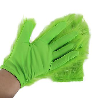 The Grinch Cosplay Gloves Halloween Party Costume With Fur Green