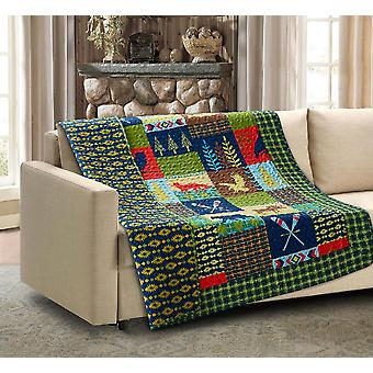Spura Home Pictorial Lake and Lodge Quilted Throw