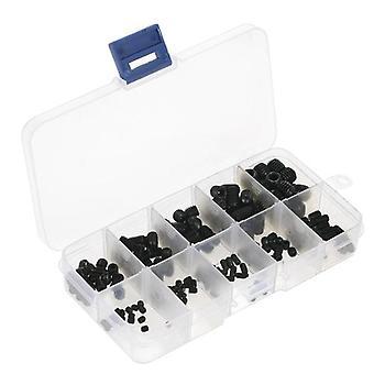 200sztuk Black Allen Head Socket Wewnętrzny hex set Grub Screw Asortyment Cup Point Screws Kit do użytku domowego