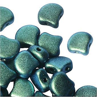 Tjeckiskt glas, 2-håls Ginko pärlor 7,5 mm, 10 gram, polykrom mintchoklad