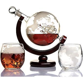 HanFei Whisky Karaffe Globus für Alkohol - Whiskey Decanter Bar Set mit Gläser Holzständer und