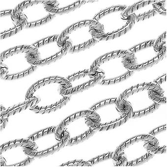 Nunn Design Antiqued Silver Plated Textured Cable Chain, 4mm, by the Foot