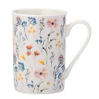 English Tableware Co. Pressed Flowers Flare Rim Mug, Cream