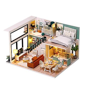 Diydollhouse miniature with furniture diy wooden dollhouse kit plus dust proof and music movement creative room idea(comfortable life)