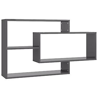 vidaXL Estantes de pared gris de alto brillo 104×24×60 cm Aglomerado