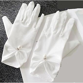 Gants de mariage, Mesh Bow Pearl Princess Robe de fête