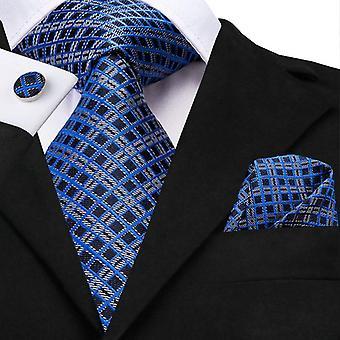 Business Tie Silk Blue Tie Dots Necktie Set Plaid Cufflink