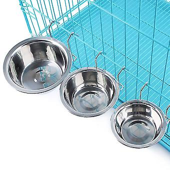 L pet stainless steel cage coop bird cat dog food water bowl dt29