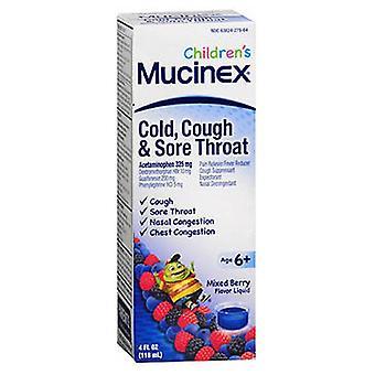 Mucinex Childrens Cold Cough Sore Throat Liquid, Mixed Berry 4 oz