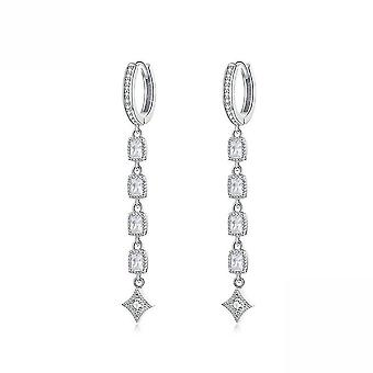 Long Ear Studs S925 Jewelry Platinum-plated Anti-allergy Silver Earrings For Birthday Gift