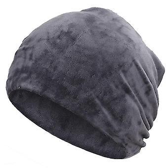 Neue Mode Glänzende Mütze, Herbst / Winter Weibliche Casual Hut, Schal (Grau-A)