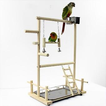 Papegaai Playstands met Cup Toys Tray Bridge Wood Cockatiel Playground Bird Zitstokken| De Zitstokken van de vogel