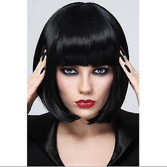 Mode Kort rak peruk för kvinnor (svart)