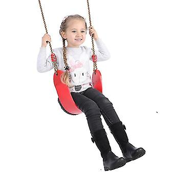 Children Eva Swing Set String Seat Playground Swings Kids Backyard Outdoor(Red)