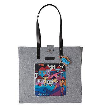 Biggdesign Owl et City Felt Tote Bag pour femmes, Tote Bag pour l'école, Résistant à la déchirure, Grand, Esthétique, Tote Bags, avec poche externe, Transport d'ordinateurs portables de 15 pouces