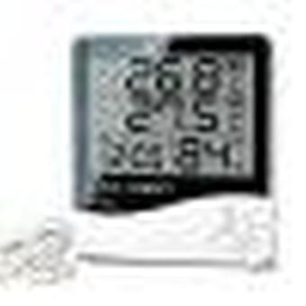 Lcd elektronisk digital temperatur luftfuktighet mätare inomhus utomhus termometer hygrometer väderstation klocka htc-1 htc-2