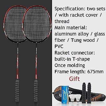 2kpl ammattimaisia sulkapallomailoja asettaa erittäin kevyt kaksinkertainen sulkapallo racquet titaaniseos kevyin pelaa sulkapallo koko