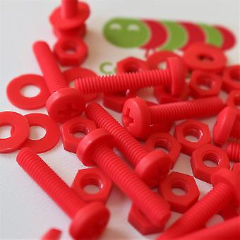 20x Red Pan Head Polypropylene (PP) Nuts, Bolts, Washers M4 x 20mm