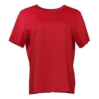 Susan Graver Women's Essentials Butterknit Short Slv Camiseta Rojo A96742O
