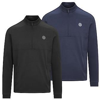 Original Penguin Mens 2021 Pieced 1/4 Zip Midweight Zip Pockets Golf Sweater