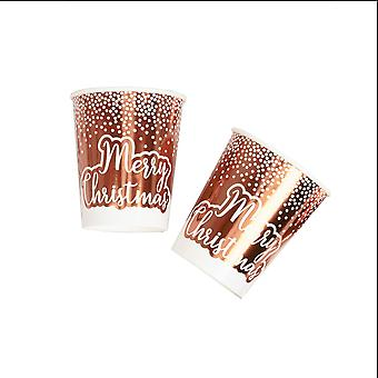 Merry Christmas Rose Gold & White Dots Cup