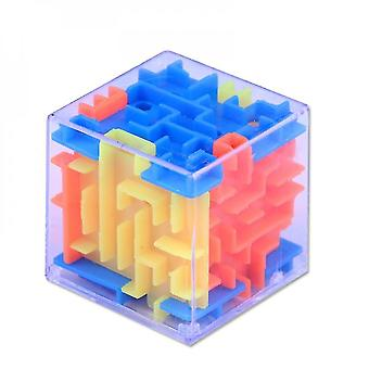 Wooden blocks 3d maze magic cube transparent six-sided puzzle speed cube rolling ball game cubos maze toys for